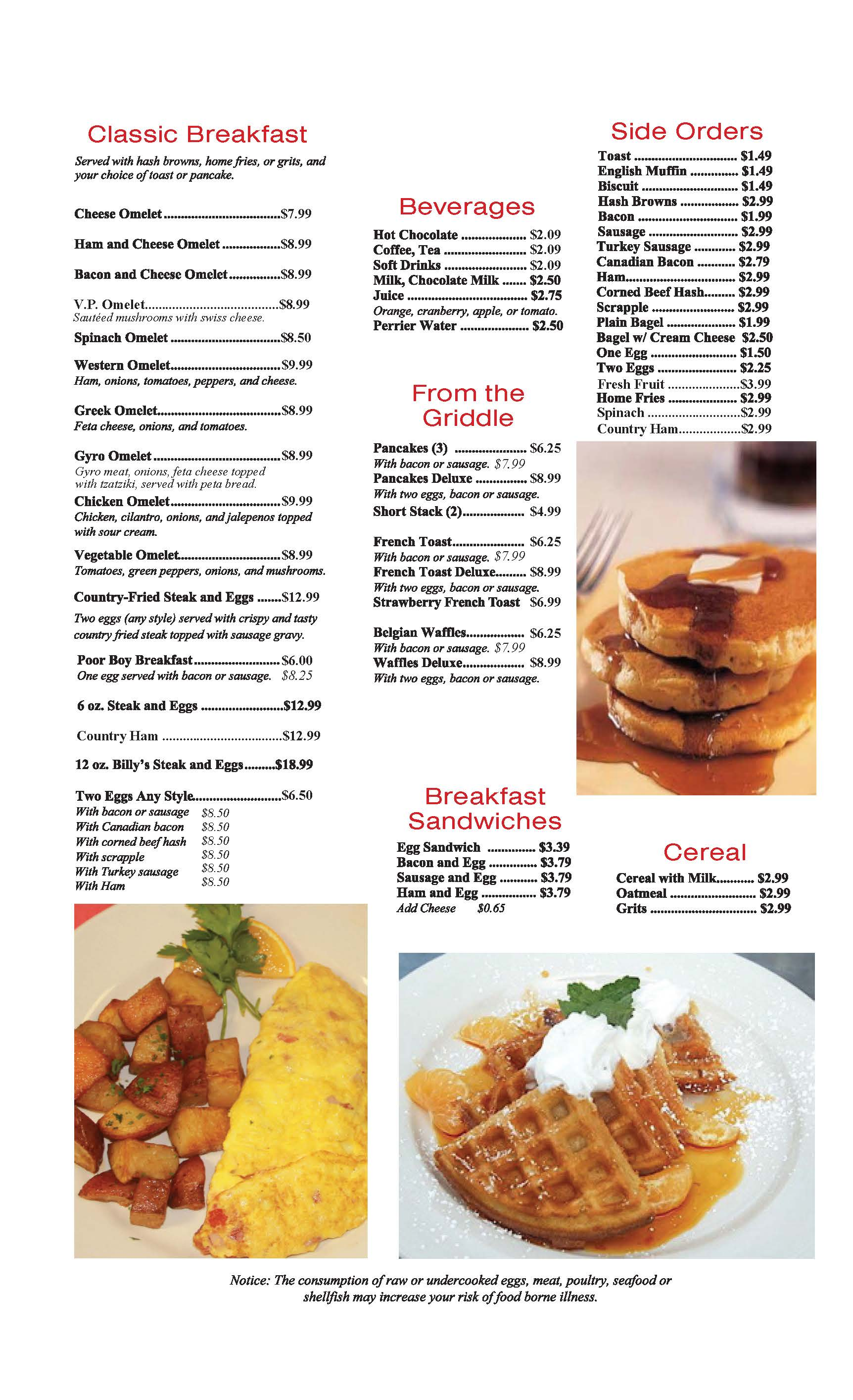 Family Restaurant Menu Manassas